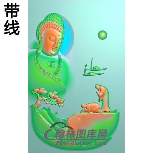 山水建筑佛像精雕图(LFX-042)