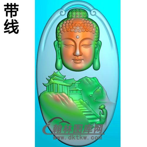 山水建筑佛像精雕图(LFX-043)