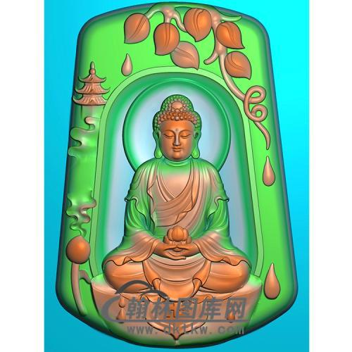 山水建筑佛像精雕图(LFX-044)
