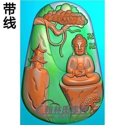山水建筑佛像精雕图(LFX-045)