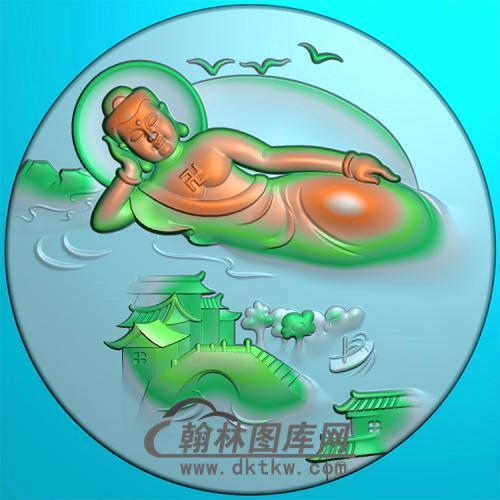 山水建筑佛像精雕图(LFX-046)