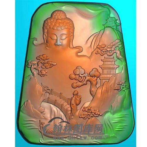 山水建筑佛像精雕图(LFX-047)