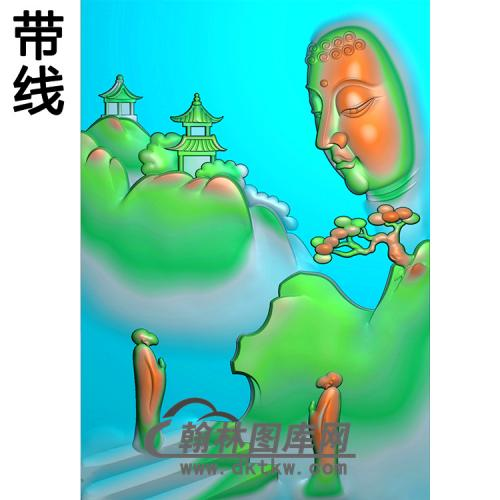 山水人物佛像精雕图(LFX-048)