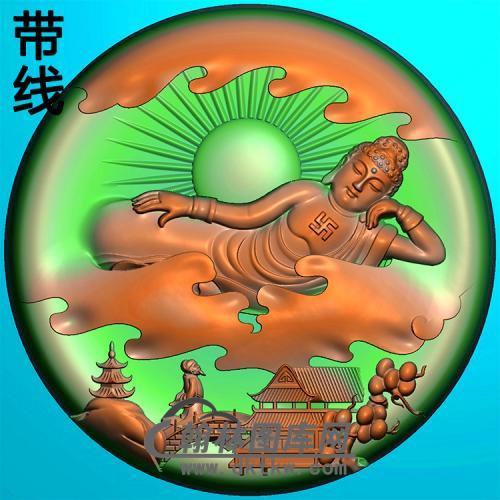 山水建筑佛像精雕图(LFX-053)