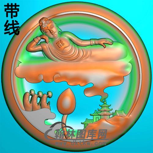 山水建筑躺姿佛佛像精雕图(LFX-054)