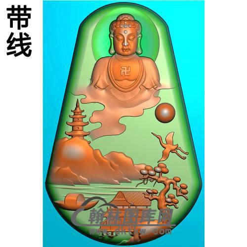 山水建筑佛像精雕图(LFX-060)