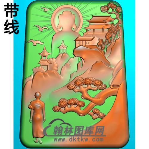 山水建筑佛像精雕图(LFX-062)