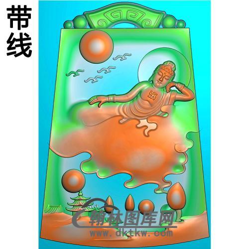 山水建筑云带佛像精雕图(LFX-063)