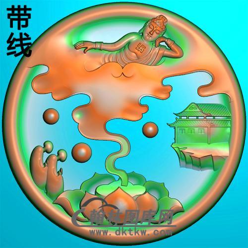 荷花山水建筑佛像精雕图(LFX-064)