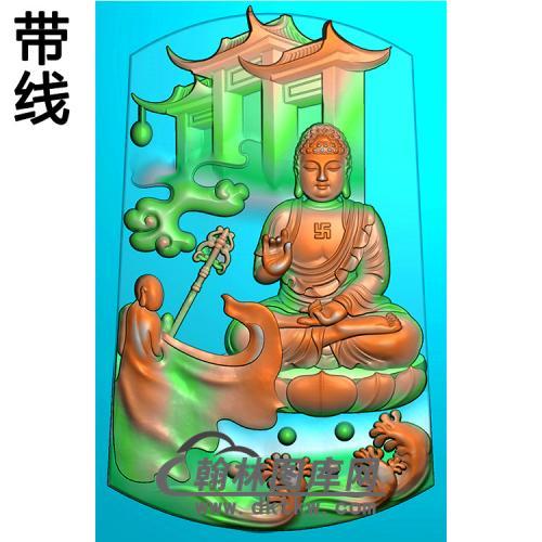 浪花建筑山水佛像精雕图(LFX-065)