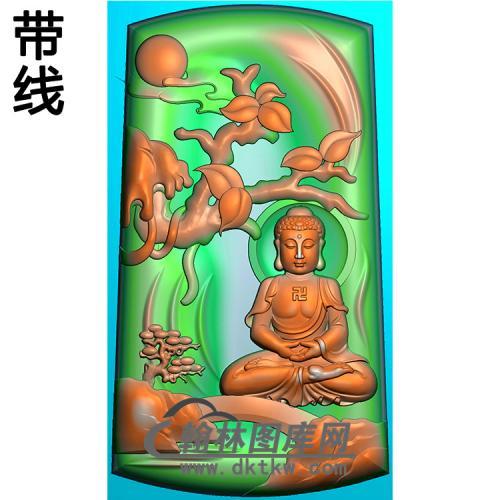 山水坐姿佛像精雕图(LFX-066)