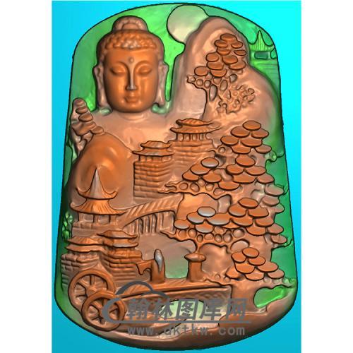 山水建筑佛像精雕图(LFX-070)
