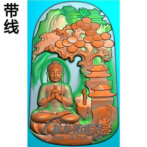 山水建筑佛像精雕图(LFX-071)