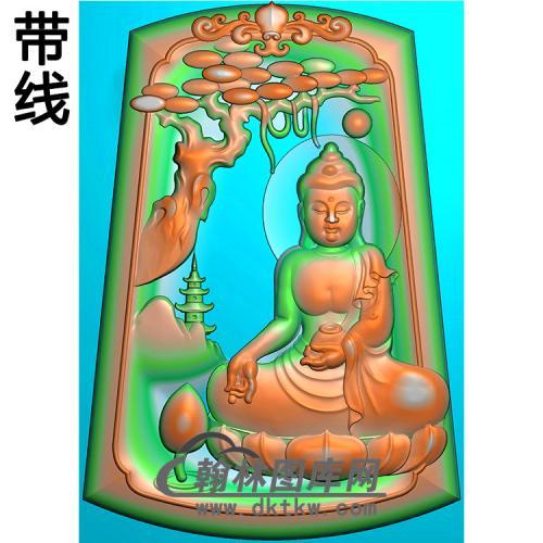 山水坐姿佛像精雕图(LFX-073)