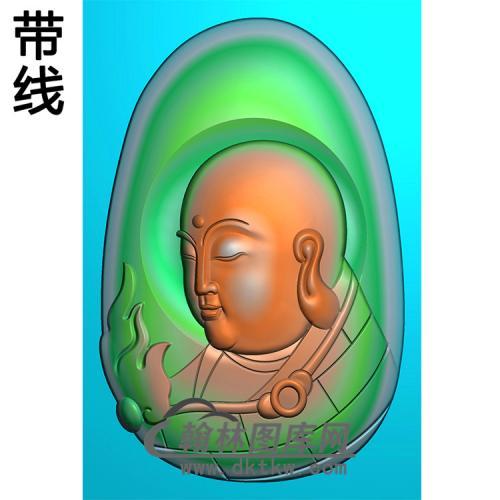 地藏王头像挂件带线精雕图(DZW-013)