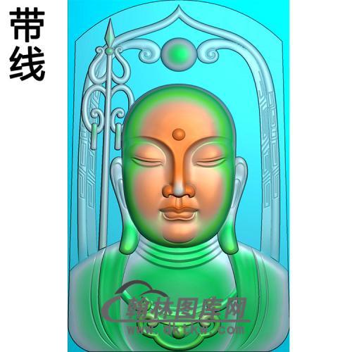 地藏王头像挂件带线精雕图(DZW-016)