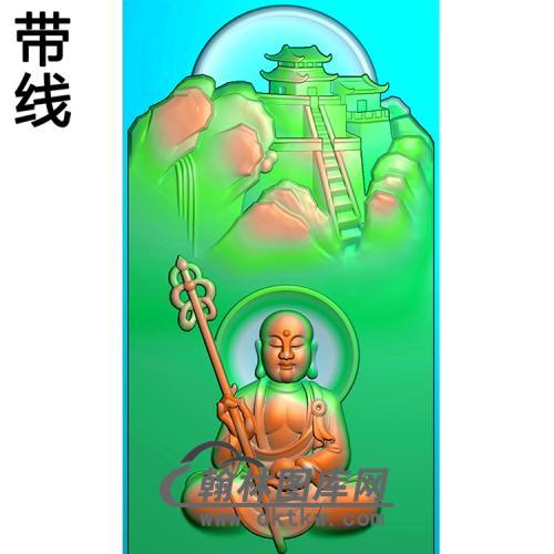 九华山地藏王菩萨带线精雕图(DZW-048)
