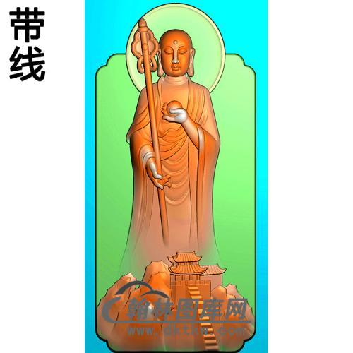 九华山地藏王菩萨带线精雕图(DZW-049)