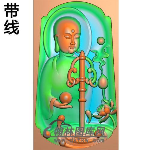 莲花半身地藏王挂件带线精雕图(DZW-015)