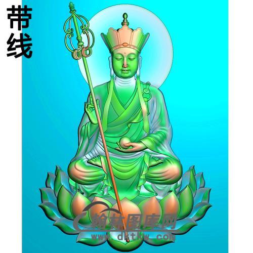 唐僧莲花地藏佛带线精雕图(DZW-034)
