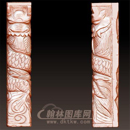 正面头龙柱立体圆雕图(YML-34)