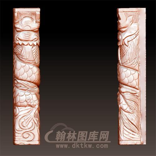 盘龙柱立体圆雕图(YML-41)