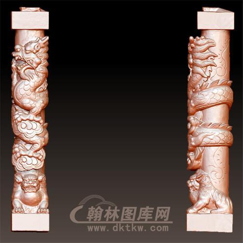 盘龙狮柱立体圆雕图(YML-51)
