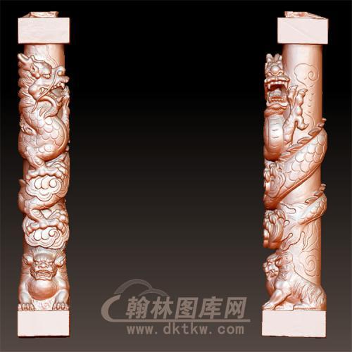 盘龙狮柱立体圆雕图(YML-52)