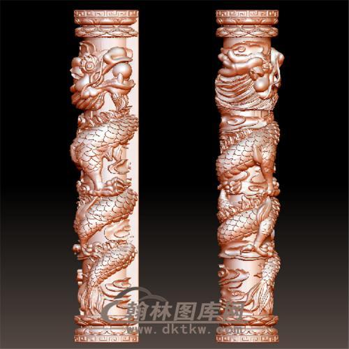 盘龙柱立体圆雕图(YML-54)
