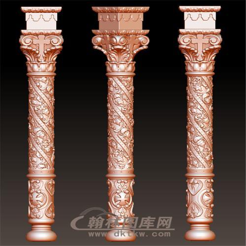 柯林斯巴洛克花纹纹理罗马柱柱子立体圆雕图(LMZ-025)