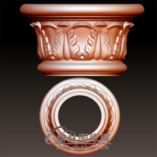 欧式洋花罗马柱柱头立体圆雕图(LMZ-029)