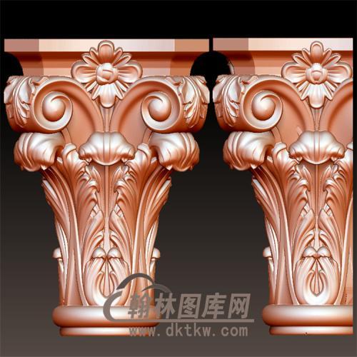 欧式洋花罗马柱柱子柱台梁托立体圆雕图(LMZ-031)