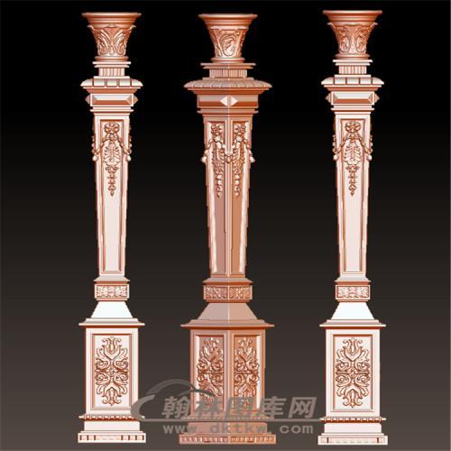 欧式洋花柱子楼梯立柱方柱扶手罗马柱立体圆雕图(LMZ-033)
