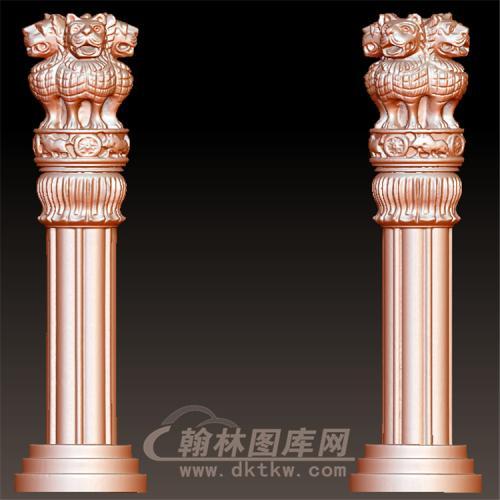 圆雕stl四兽头罗马柱楼梯柱头立体圆雕图(LMZ-054)