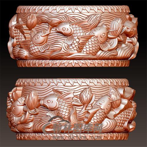 鲤鱼波浪石墩石鼓立体圆雕图(YZC-001)