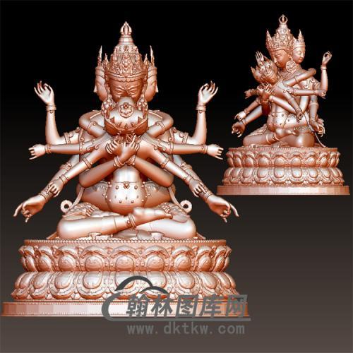 藏佛欢喜佛菩萨精品立体圆雕图(YFX-011)