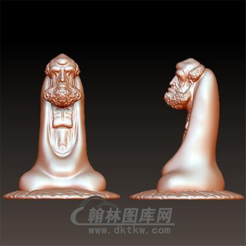达摩禅坐立体圆雕图(YDM-008)
