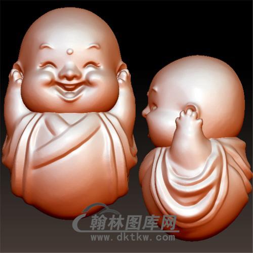 不听三不小和尚立体圆雕图(BBF-010)