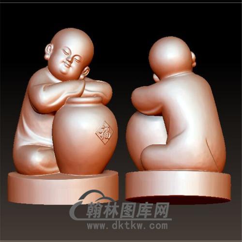 小和尚抱酒坛小沙弥立体圆雕图(BBF-025)