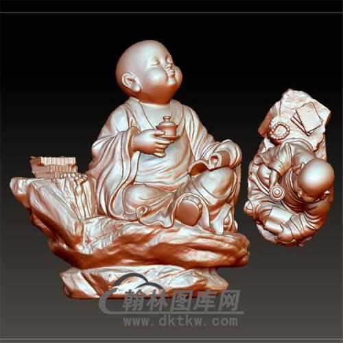 茶趣小佛立体圆雕图(BBF-027)