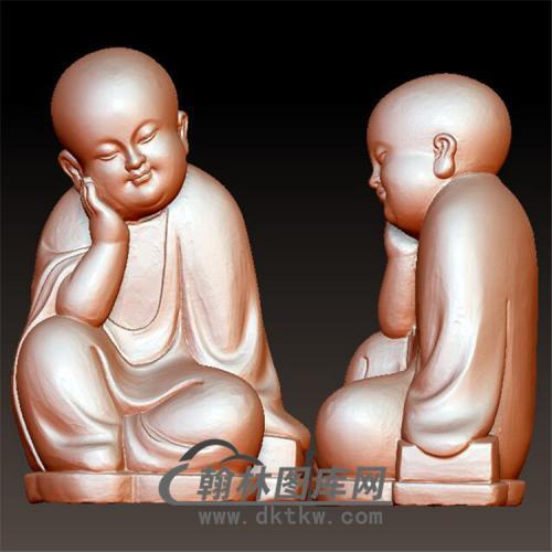 沉思小和尚立体圆雕图(BBF-035)