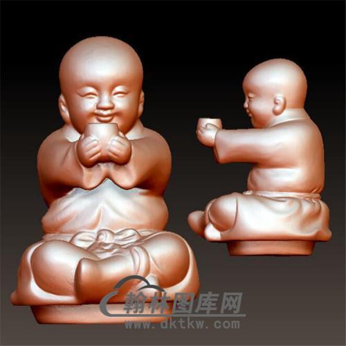 捧杯小和尚立体圆雕图(BBF-037)