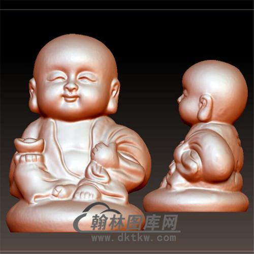 元宝小和尚立体圆雕图(BBF-039)