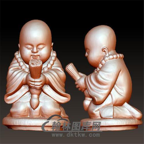 小和尚捧香 小沙弥立体圆雕图(BBF-041)