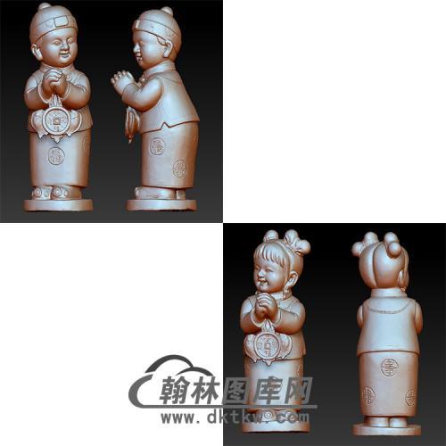 童男童女立体圆雕图(BBF-050)