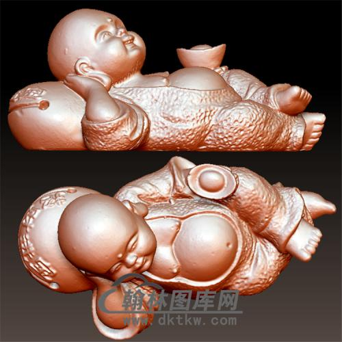 招财进宝小沙弥立体圆雕图(BBF-054)