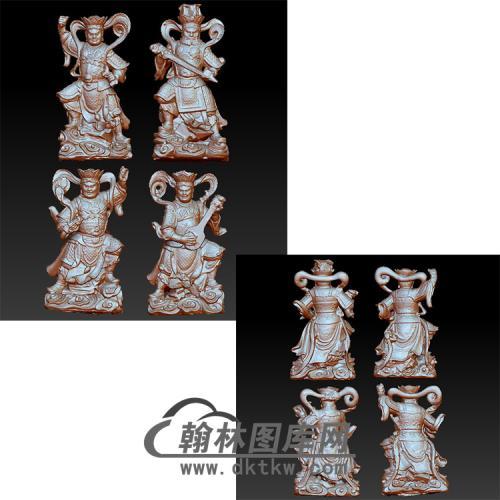 四大金刚立体圆雕图(YQT-014)