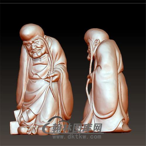 长眉罗汉立体圆雕图(YQT-030)