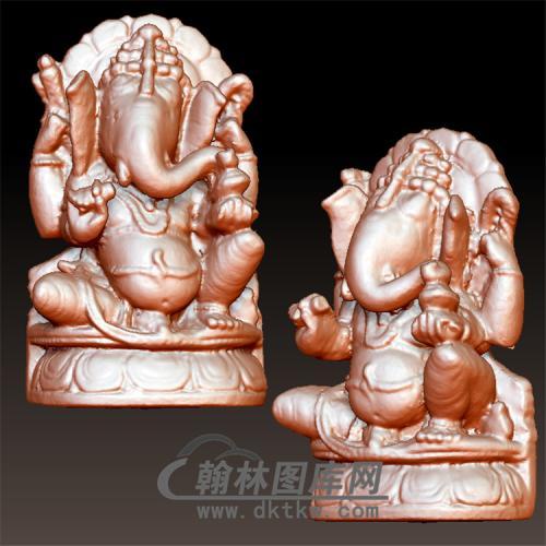 神象立体圆雕图(YQT-049)