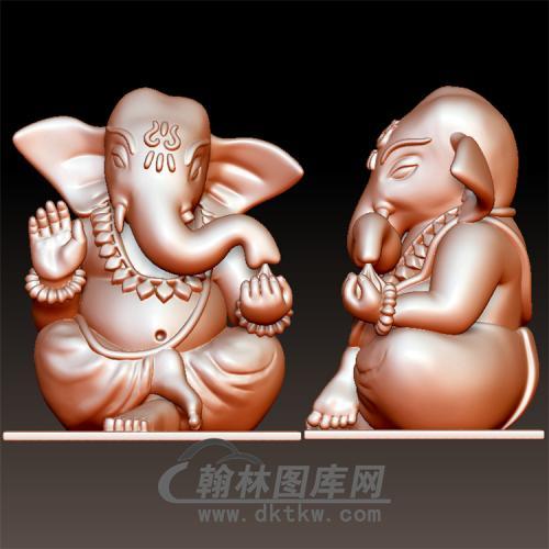 象神坐立体圆雕图(YQT-055)